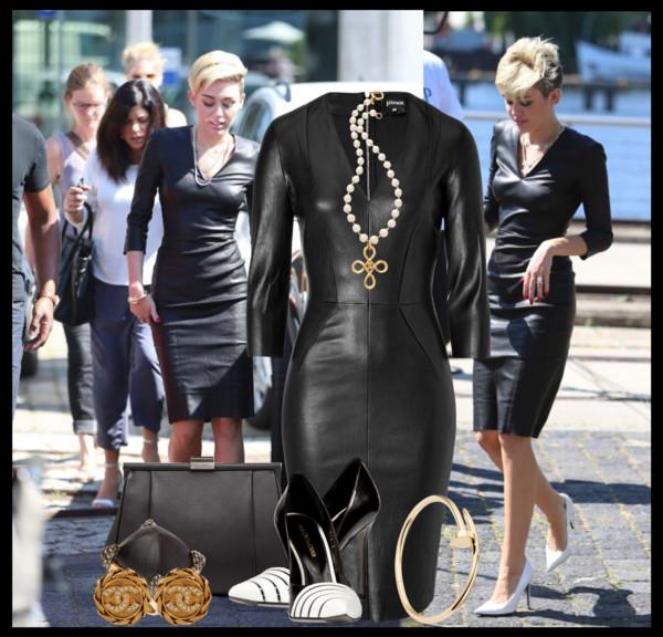 Miley Cyrus' Jitrois tight black leather dress