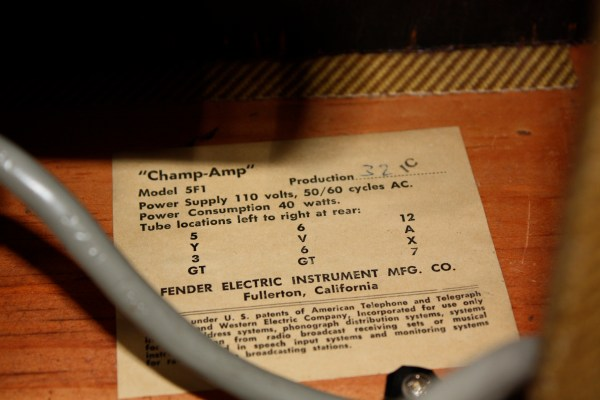 1959 Fender Tweed Champ Tube Chart and Date Code
