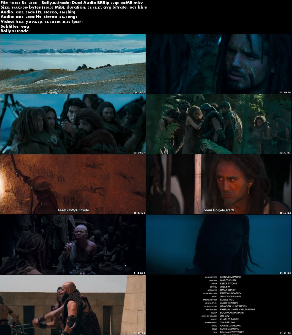 10,000 BC 2008 BRRip 350MB Hindi Dual Audio 480p Download