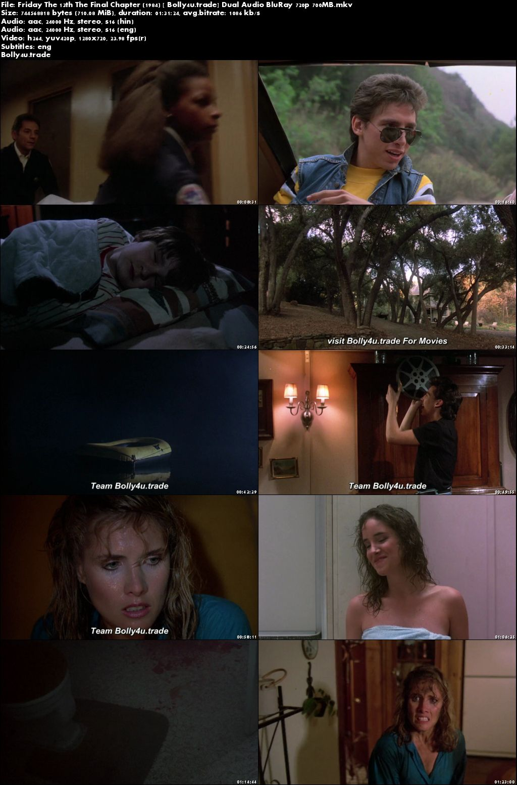 Friday The 13th The Final Chapter 1984 BRRip 300Mb Hindi Dual Audio 480p Download