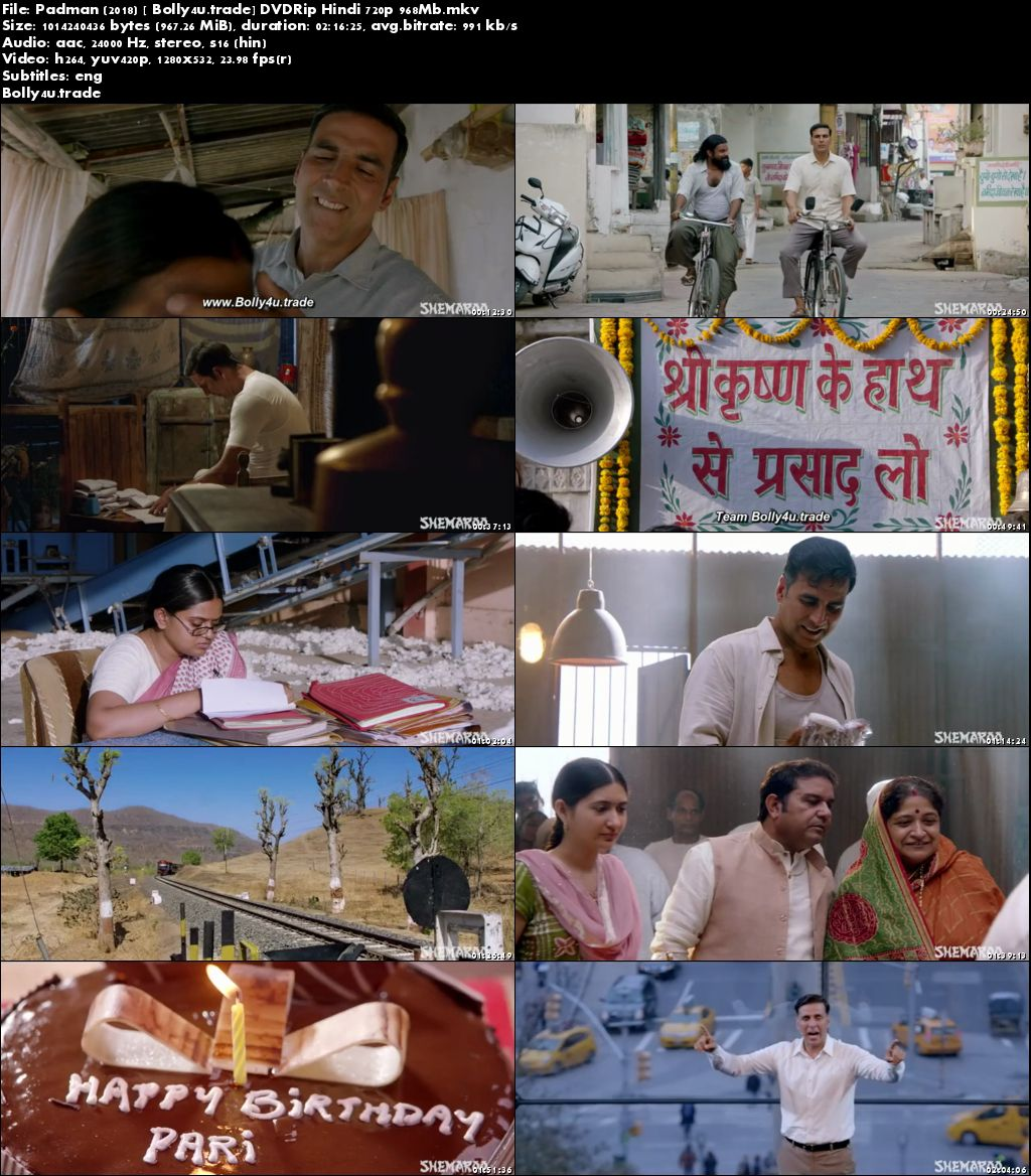 Padman 2018 DVDRip 950Mb Full Hindi Movie Download 720p ESub
