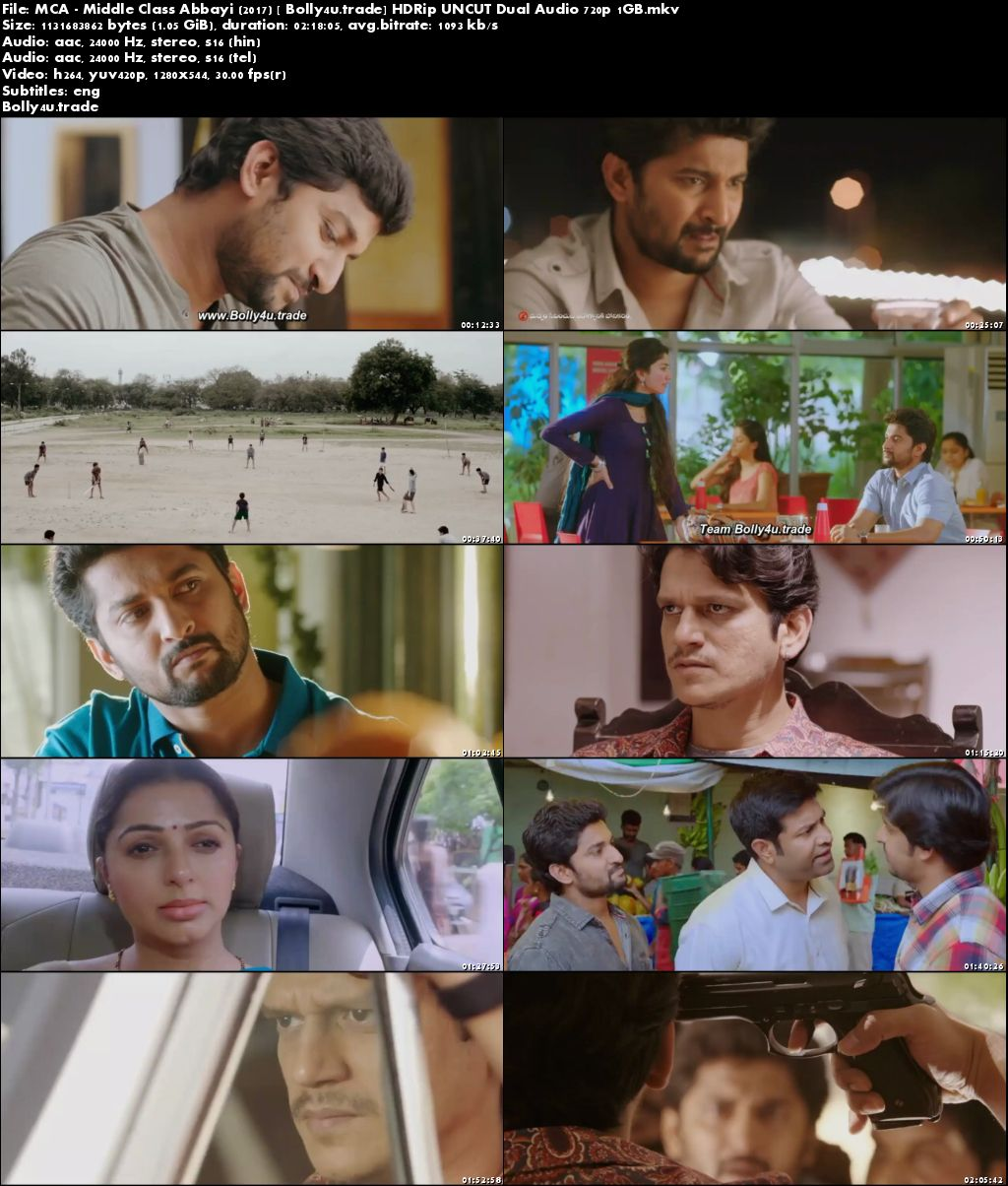 MCA – Middle Class Abbayi 2017 HDRip 400MB UNCUT Hindi Dual Audio 480p Download