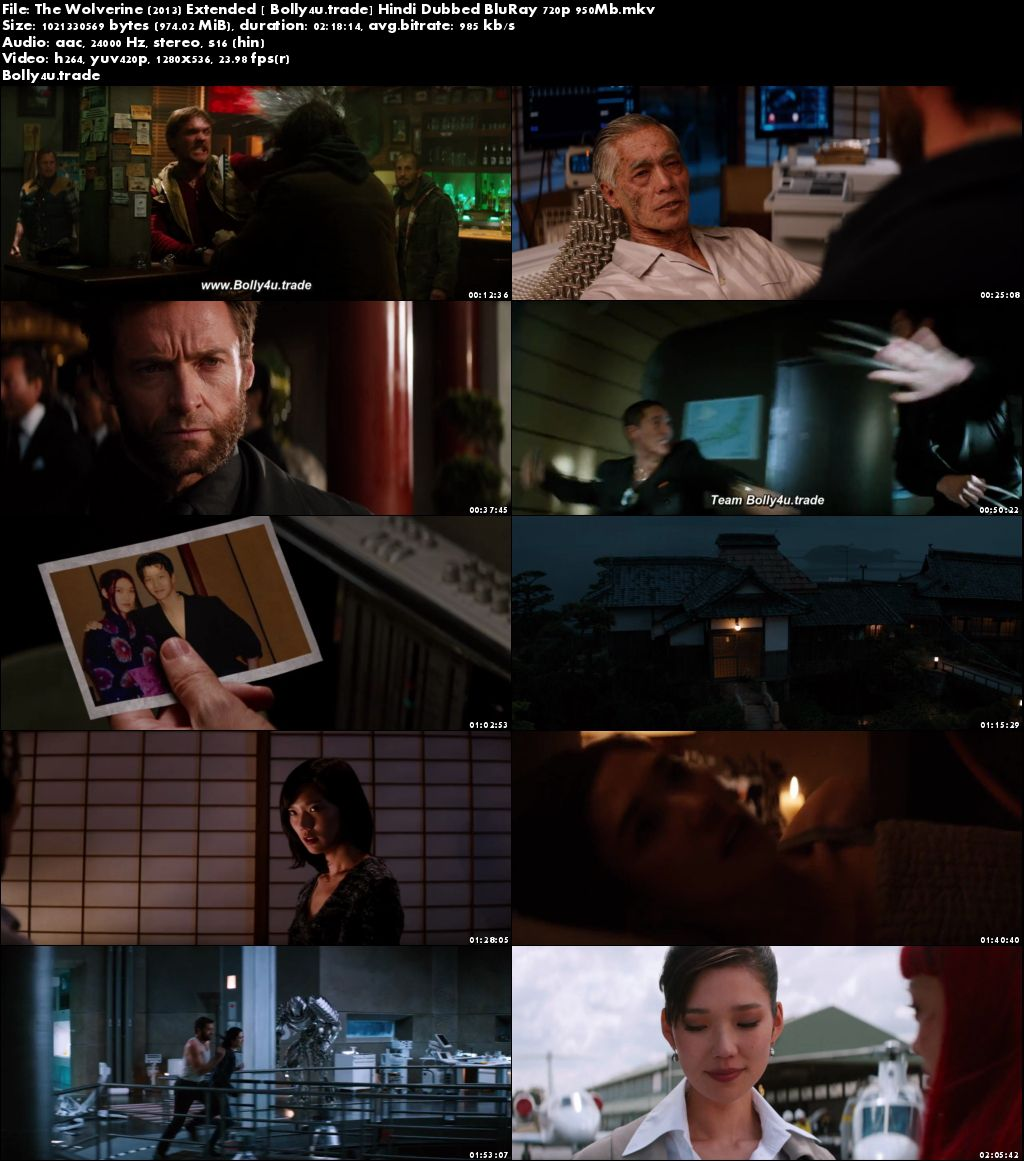 The Wolverine 2013 BluRay 950MB Extended Cut Hindi Dubbed 720p Download
