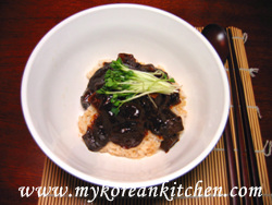 Black bean sauce on rice
