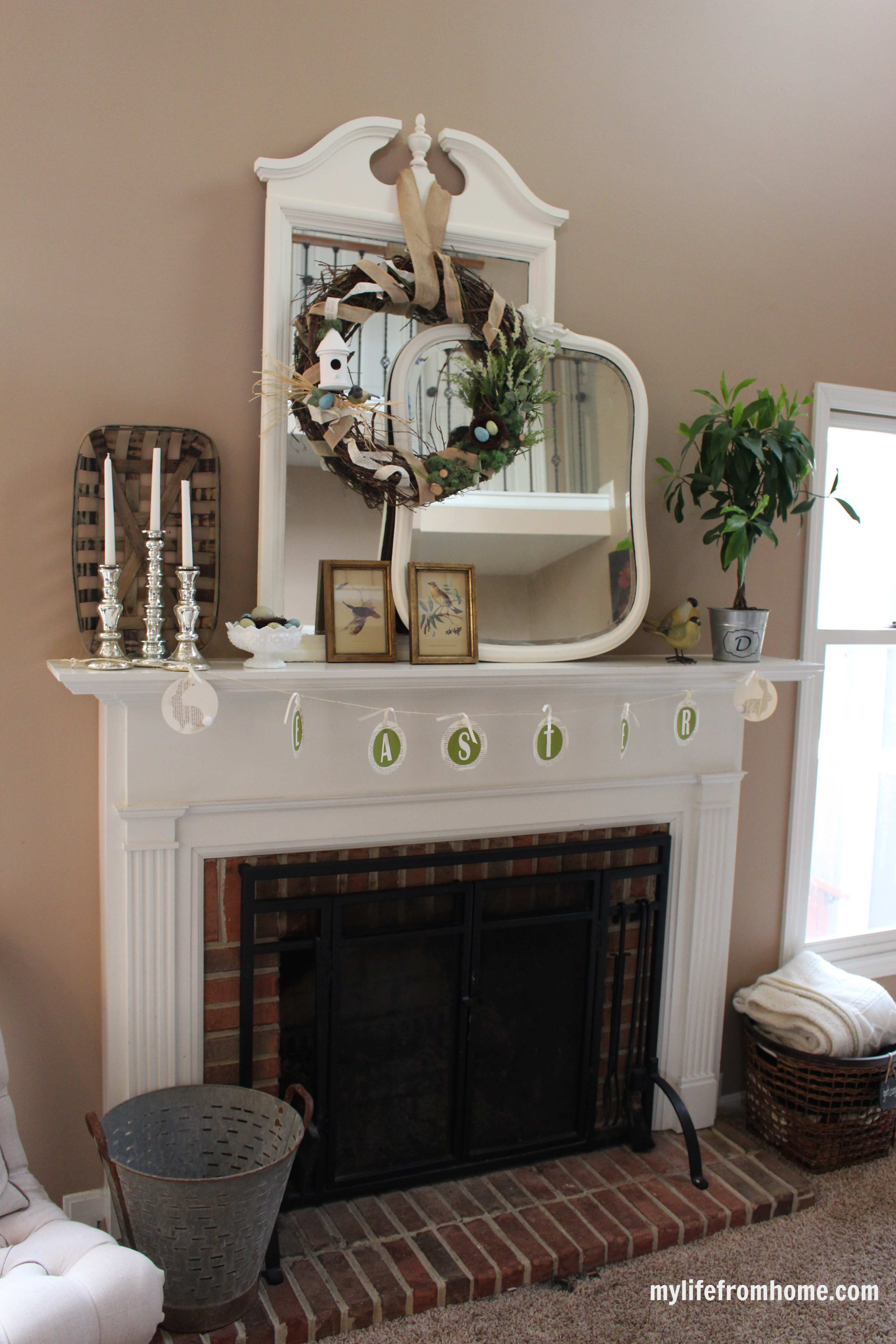 How to Decorate Your Mantel for Spring by www.mylifefromhome.com
