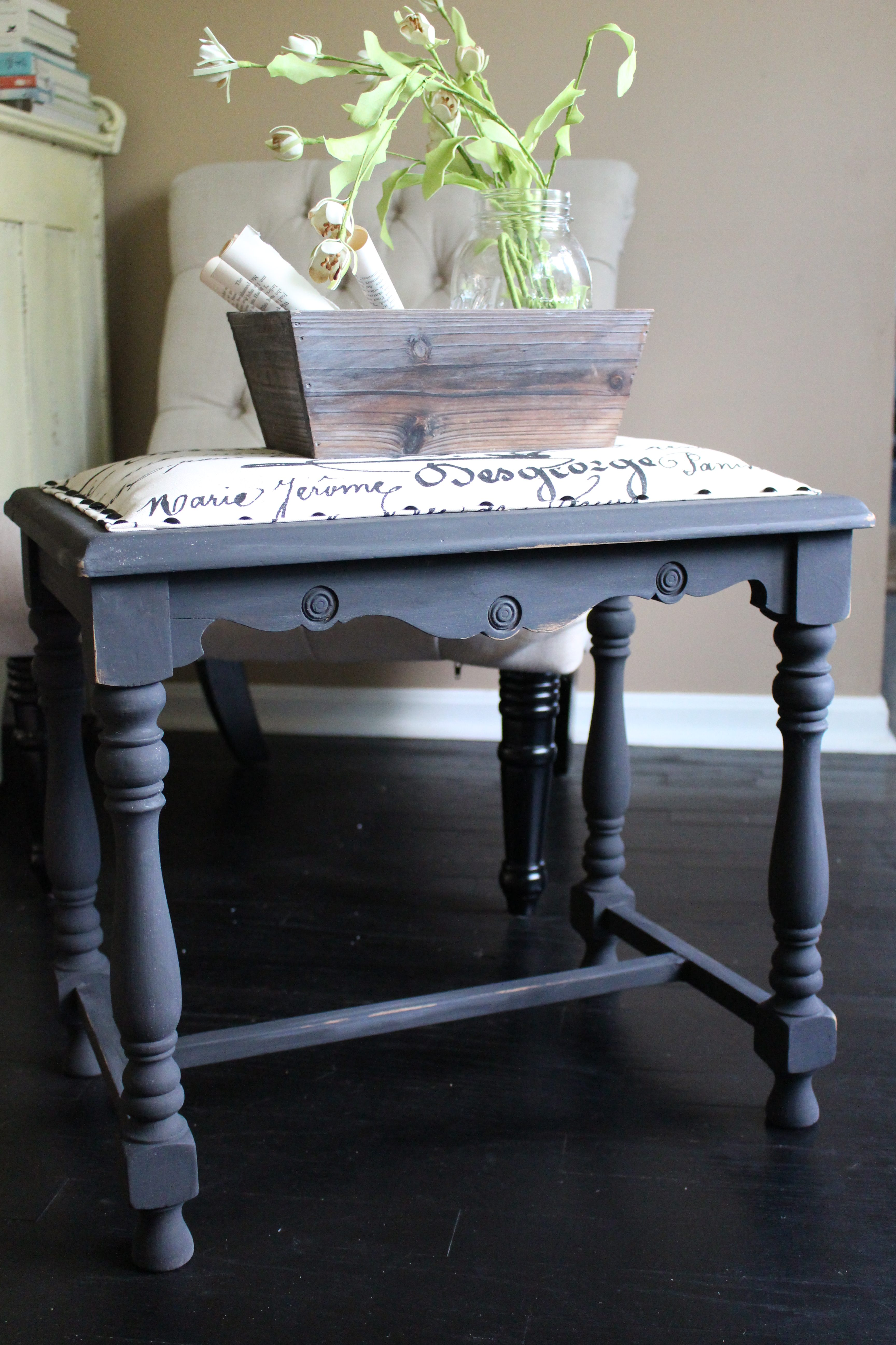 Farmhouse Stool Makeover by www.mylifefromhome.com