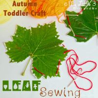 Autumn Crafts For Toddlers - Leaf Sewing