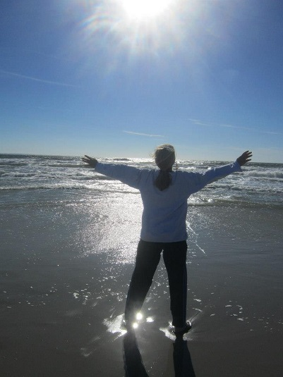 Christine Basking in Ocean Healing Properties