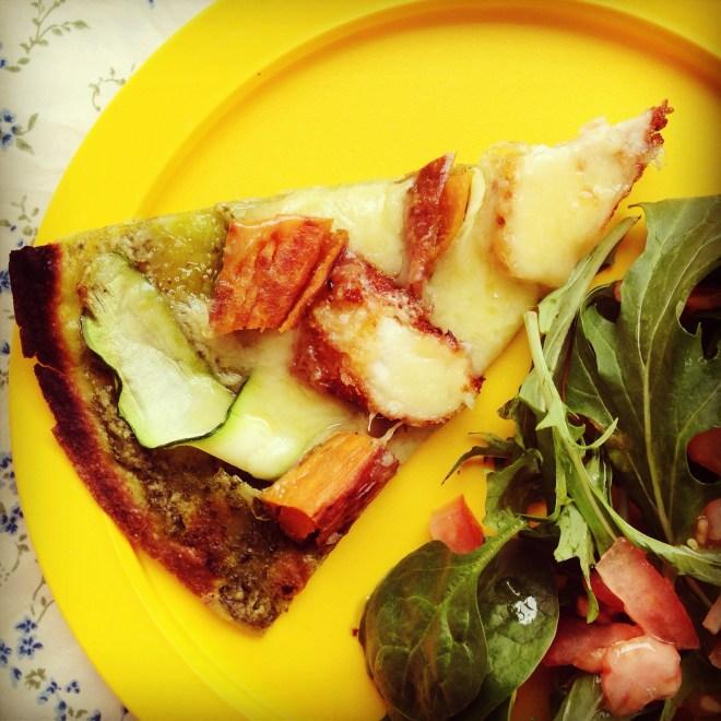 sweet potato, zucchini and crispy chicken pizza