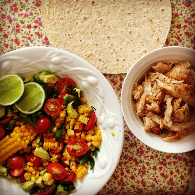 chicken tacos w' grilled corn & avocado salsa