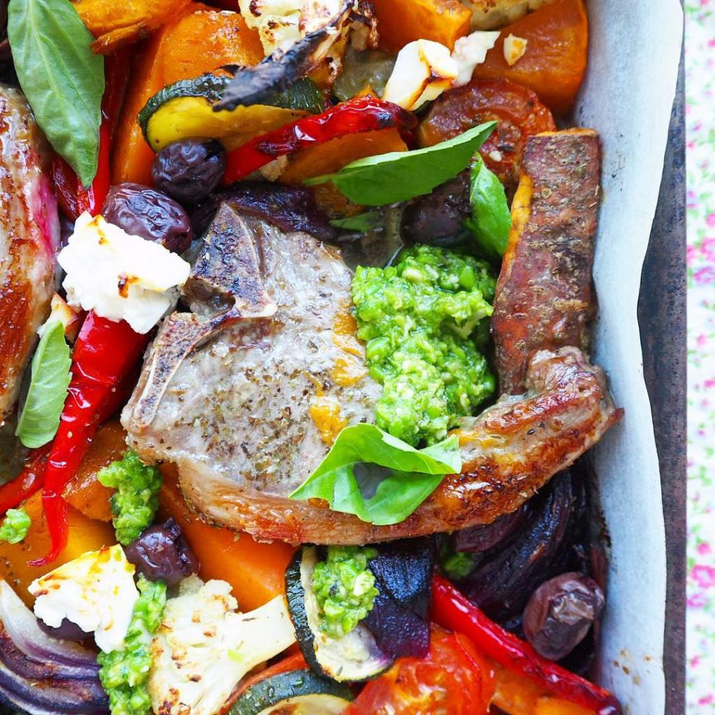 NEW RECIPE lamb tray bake w mediterranean vegetables amp peahellip