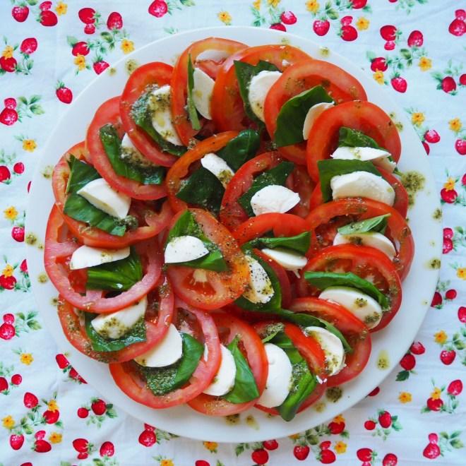 zucchini pancakes w' caprese salad