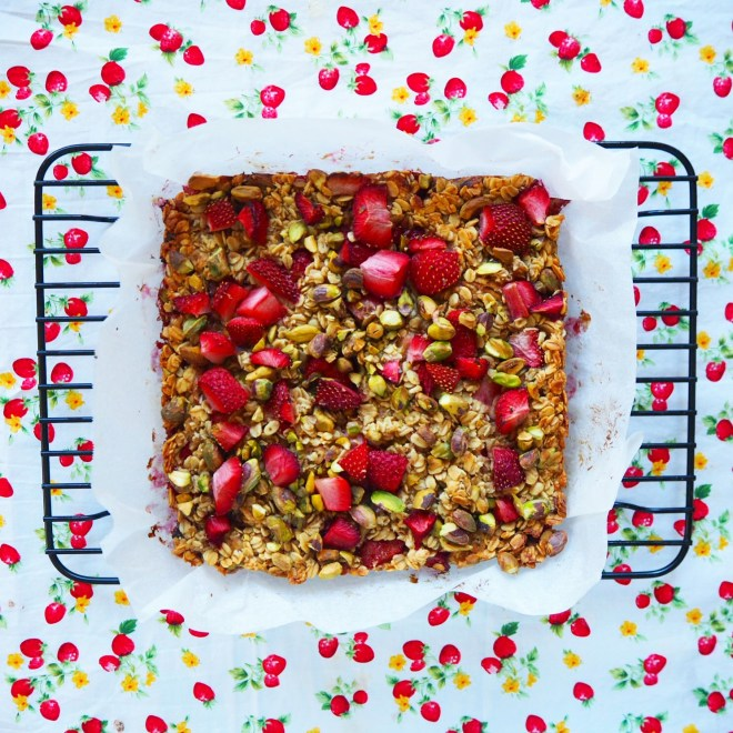 strawberry & pistachio flapjacks