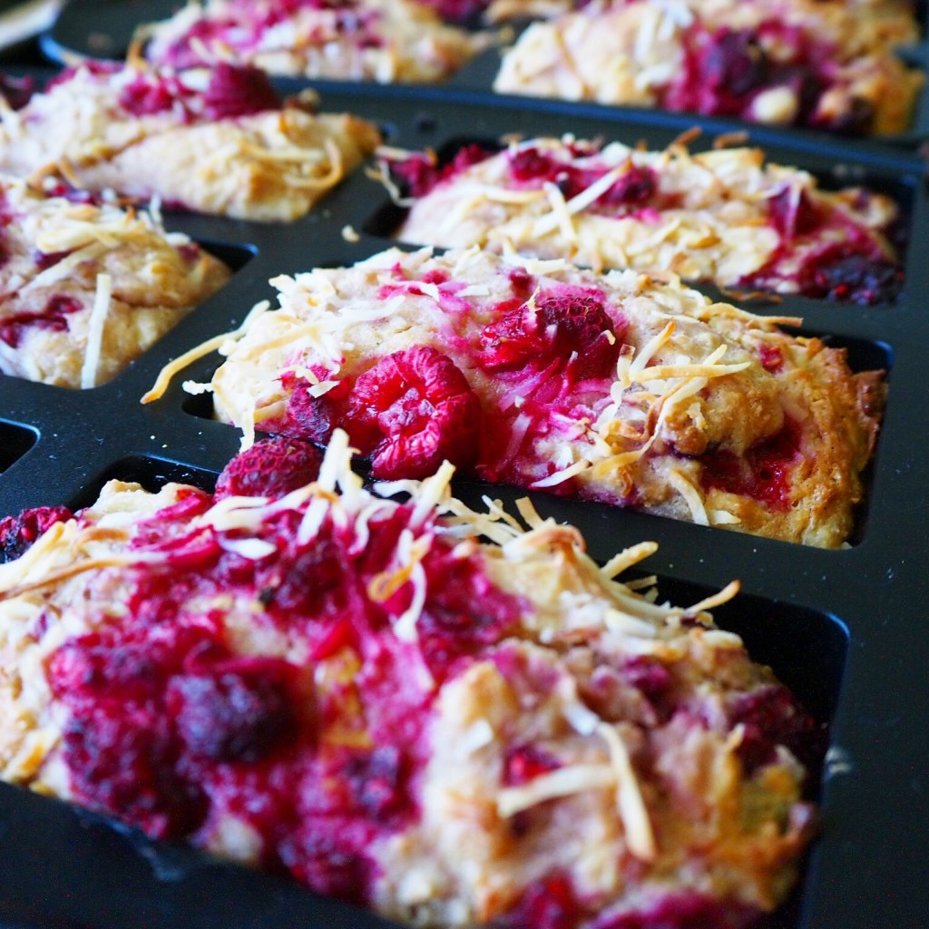 raspberry pear & coconut loaves