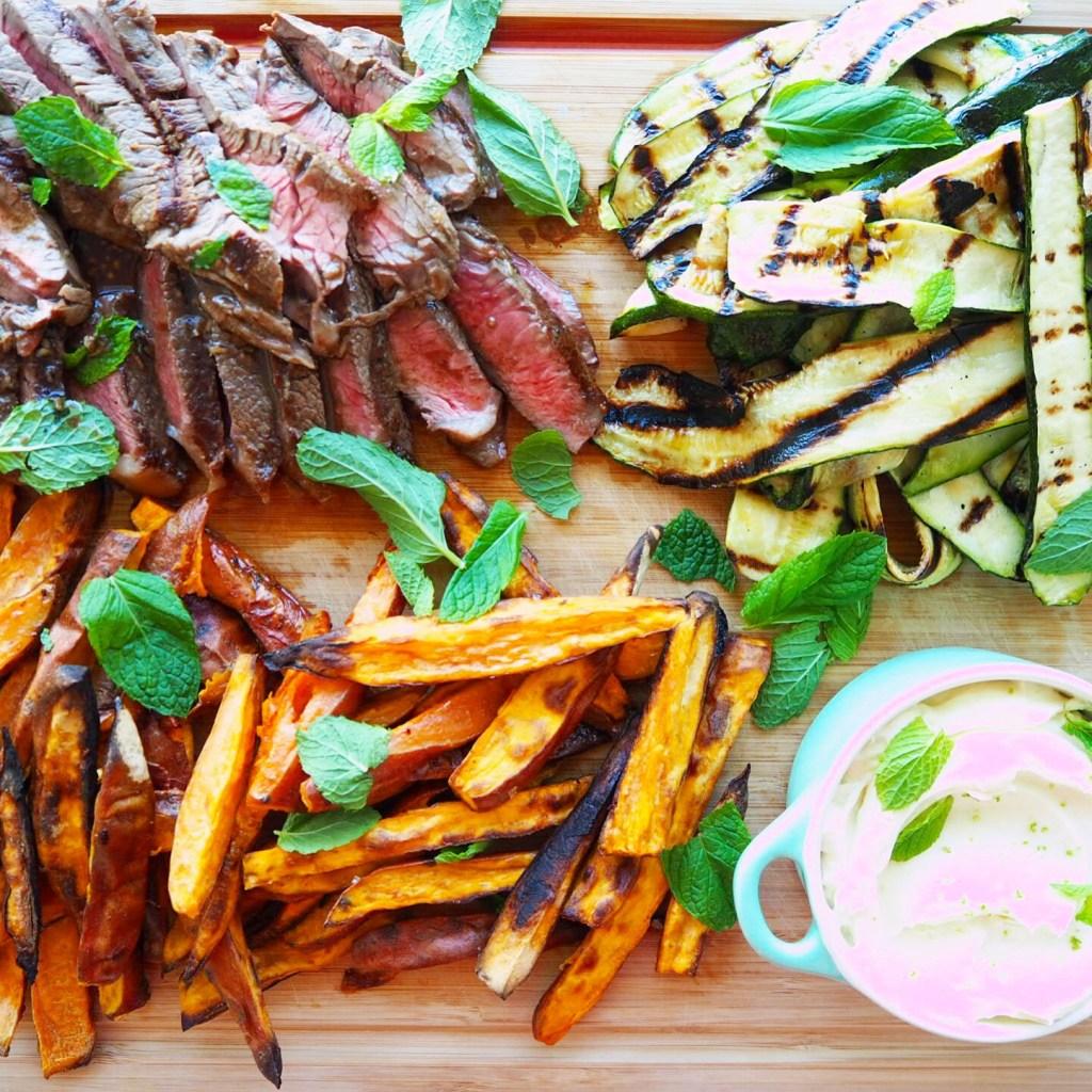 marinated rump steak w' sweet potato wedges, char grilled zucchini & lime yoghurt