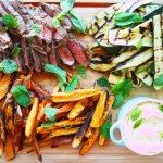 marinated rump steak w' sweet potato wedges, char grilled zucchini & lime yoghurt
