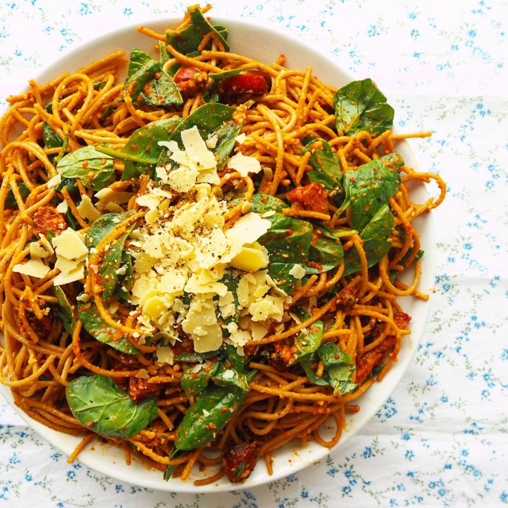wholemeal spaghetti w' roast capsicum pesto & crispy chorizo