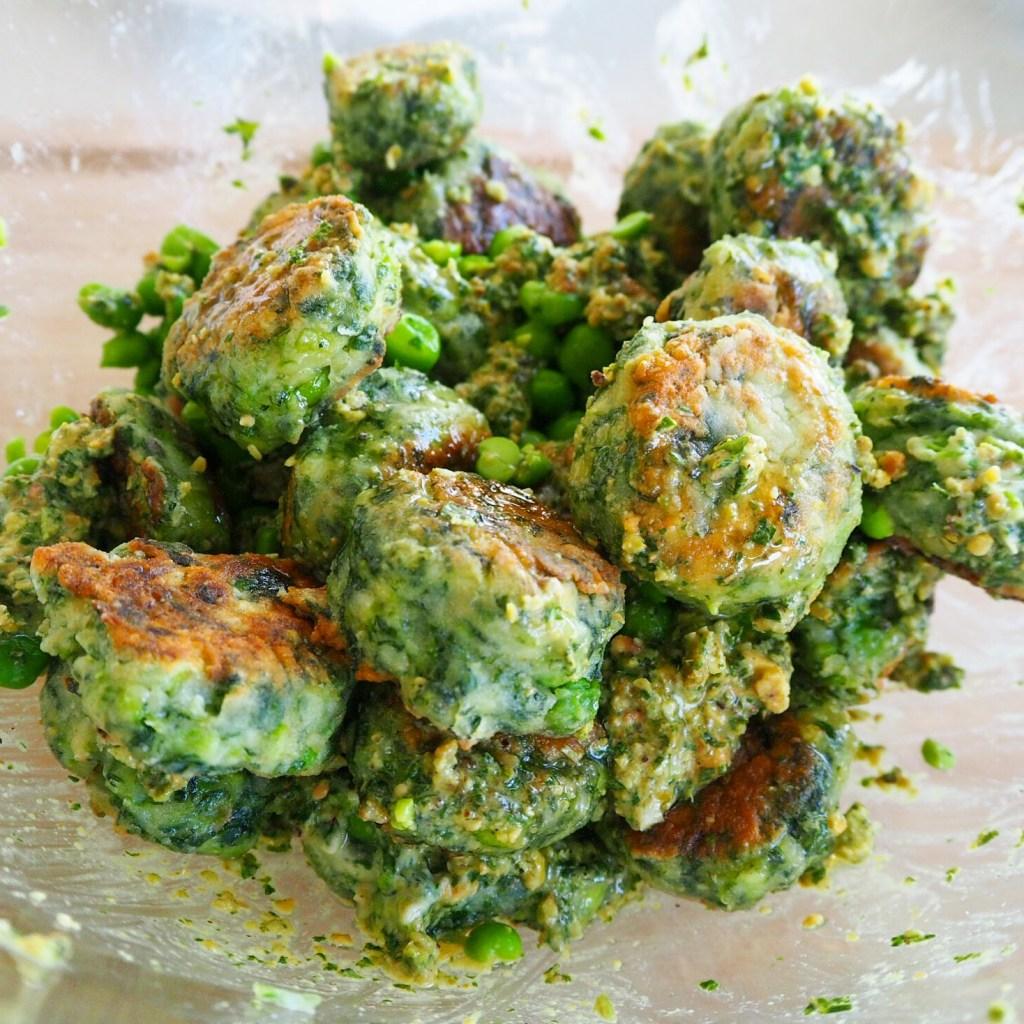 pea spinach & ricotta gnocchi with mint & pistachio pesto