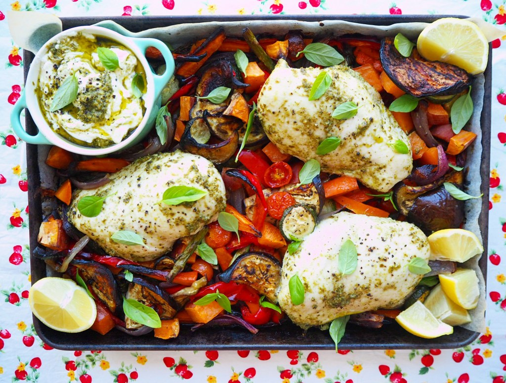 pesto chicken tray bake