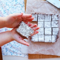[no bake] choc coconut slice