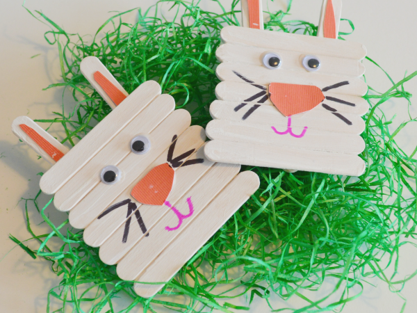 Popsicle Stick Easter Bunnies Craft!