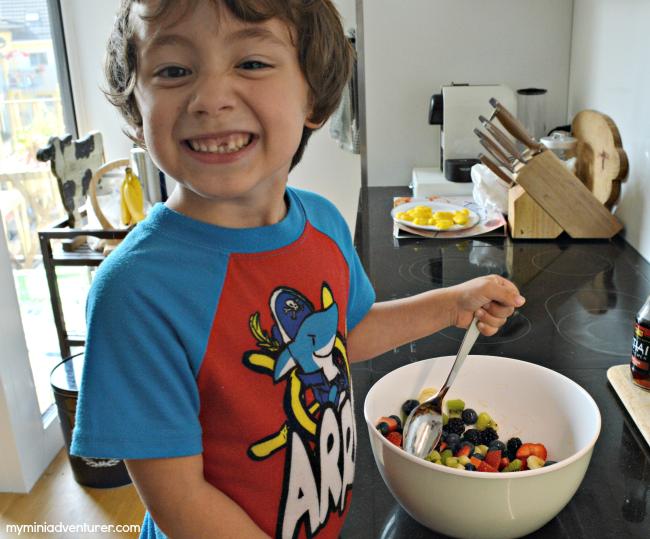 fruit salad mixing