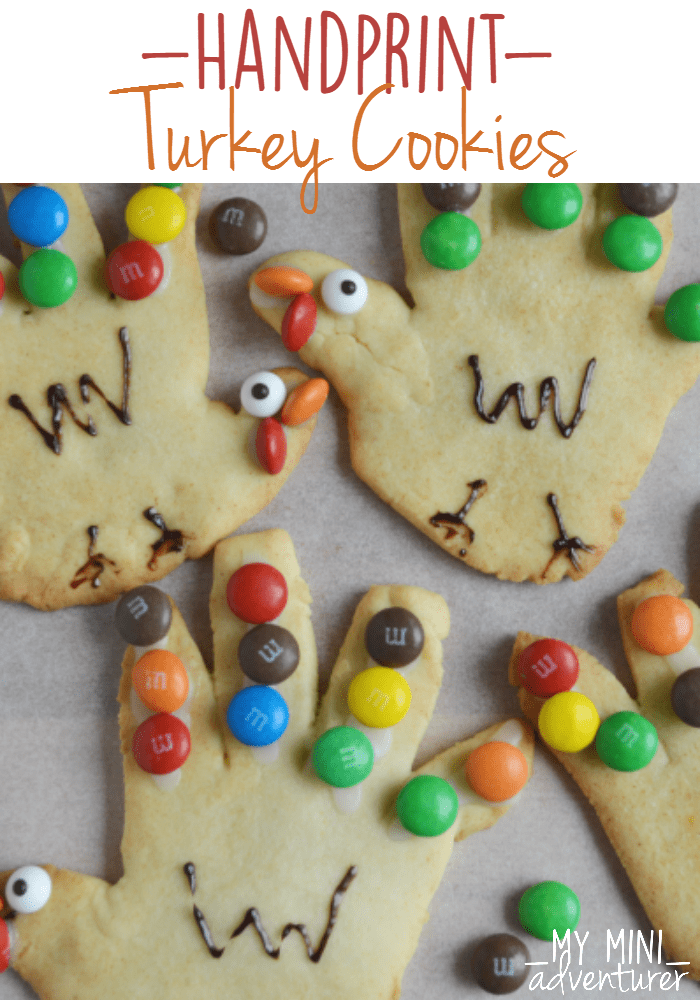 Handprint Turkey Cookies are a festival holiday cookie perfect for Thanksgiving! These cookies are so fun to make with your kids.