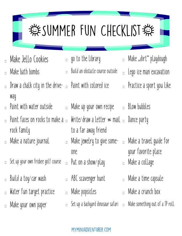 Summer Fun Checklist pic