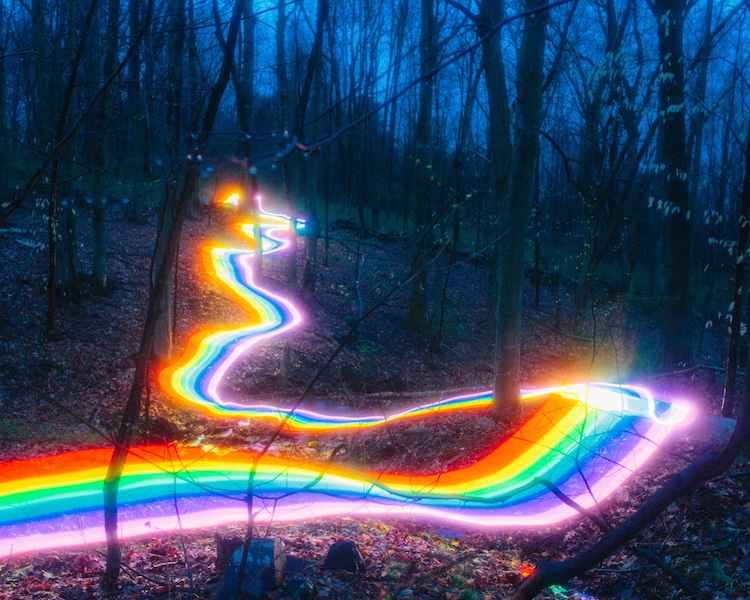 Long Exposure Photography of Rainbow Road Illuminated Landscapes Rainbow Road Long Exposure Photography by Daniel Mercadante
