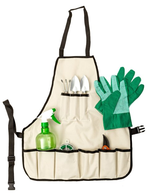 Gardening Apron with complete and Portable Eight Piece Garden Tool Set