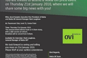 What on earth is happening Tomorrow on Thursday, 21st January 2010?! What's Nokia/Ovi got cooking?