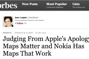 Forbes: Judging From Apple's Apology, Maps Matter and Nokia Has Maps That Work