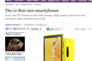 The Independent's 10 best new smartphones. #1 – Nokia Lumia 920