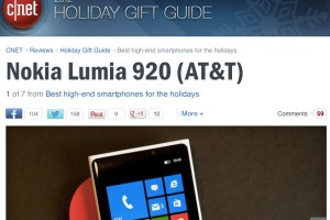 CNET's 2012 Holiday Gift Guide puts Nokia Lumia 920 as #1 Best High end Smartphone