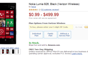 Lumia 928 Listed at 99 Cents on Amazon