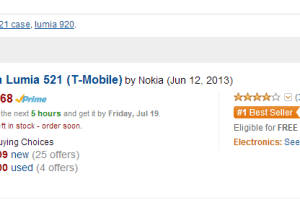 Lumia 521 #1 Best Seller On Amazon's No Contract Cell Phones