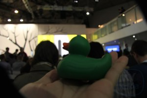 Caught a Nokia #GreenDuck – #NokiaMWC press conference about to start under the rainbow tree