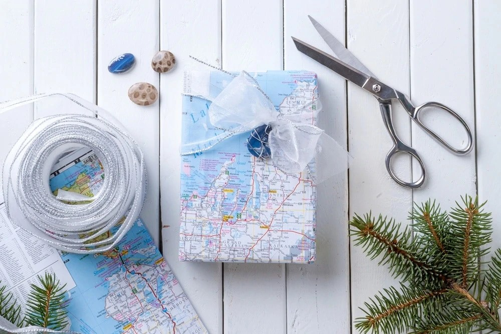 So Cute  How to Wrap Your Presents with a Map of Michigan   MyNorth com Michigan gift wrap supplies