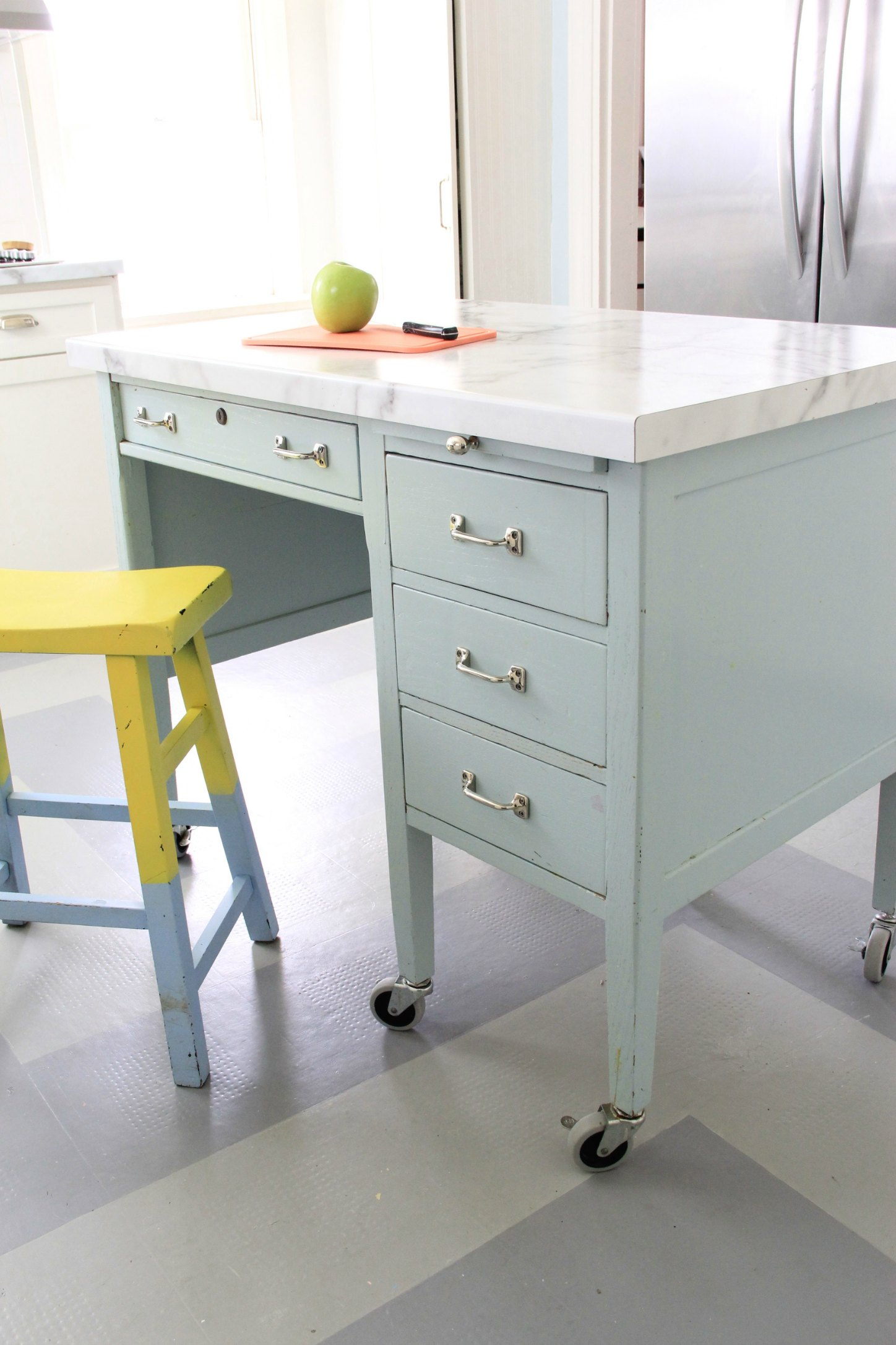 Beauteous Island Is Same Calacatta Marble Formica We Have On Our Kitchencounters Monday Makeover Diy Kitchen Island Kitchen Island Design Software Kitchen Island Desk Combo kitchen Kitchen Island Desk