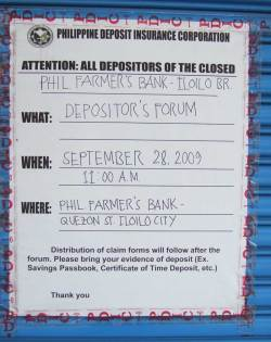 with a notice from the PDIC that your bank is closed.