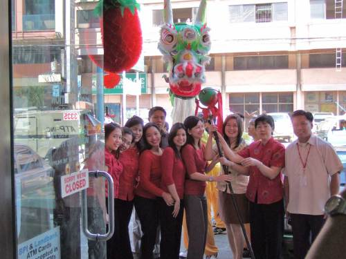 China Bank Mabini Branch usher in the new year.  Ever see such a thing in Peoria?
