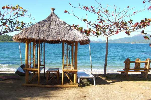 Picnic and napping shelter. You may come to Marbuena Island Resort as a day visitor for a fee of P100 per person.