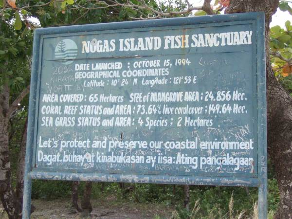 Nogas Island Entrance Sign, Nogas Island, Antique Province, Philippines