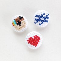 I #heart Instagram Cross Stitch Covered Buttons