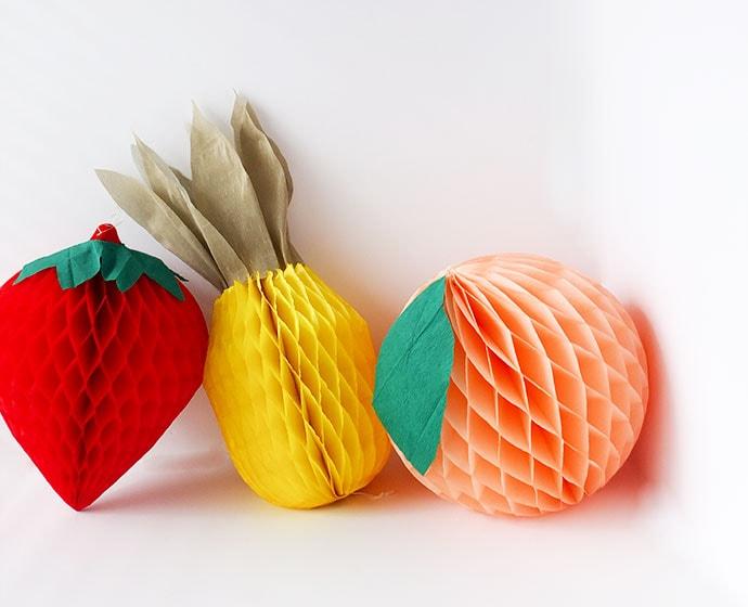 DIY Honeycomb Paper Fruit Party Decorations