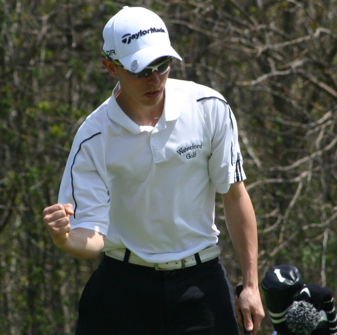 Zach Nash pumps his fist after making a putt in recent action. (Mike Ramczyk/Standard Press)