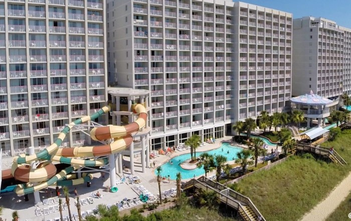 View of the Crown Reef Resort in Mytle Beach South Carolina from the back with Water Park full