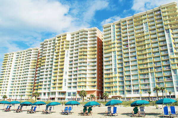 View from the Oceanfront of the backside of Bay Watch Resort Towers in North Myrtle Beach