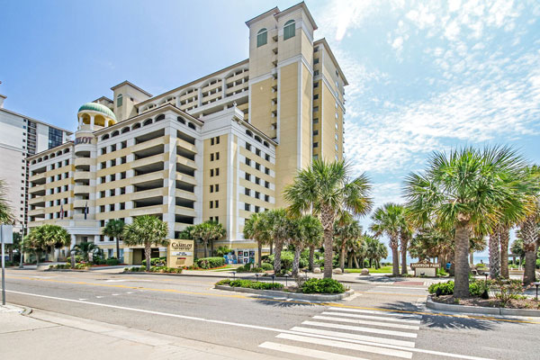 View of Camelot by the Sea Myrtle Beach Oceanfront with Palm Trees