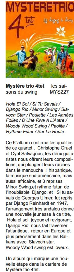 chronique album Guitares et Batterie Magazine Nov - Dec 2015